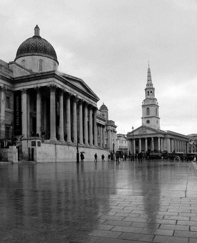 London Rainy Trafalgar Square