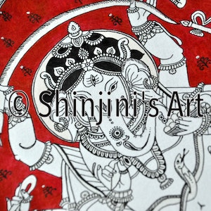 The Dancing Ganesha (Indian Kalamkari)