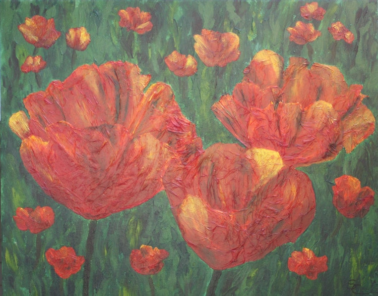 Textured Poppies