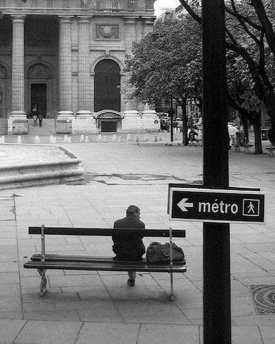 Paris Metro and Bench