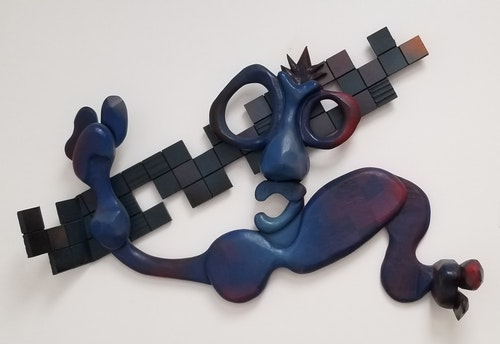 JAZZ GUY CARVED WOOD WALL SCULPTURE