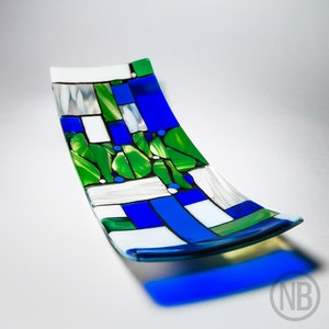Blue & Green Translucent Jeweled Toned Glass with Opaque & Pattern White Glass with Black detail