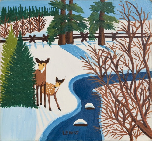 Deer and Fawn by Creek