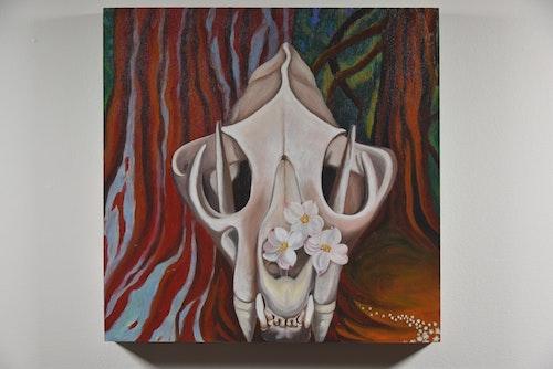 Cuacuara Dogwood - Cougar skull with Dogwood Flowers