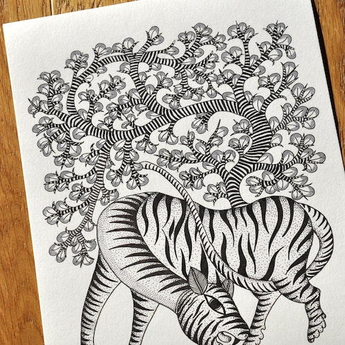 The Tiger and the Tree (Indian Gond)