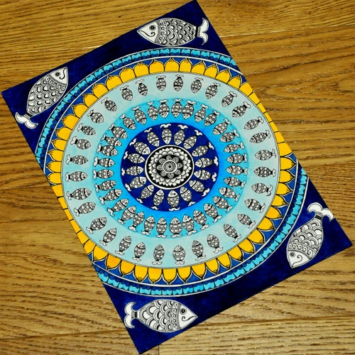 Blue Fish Mandala (Indian Madhubani)
