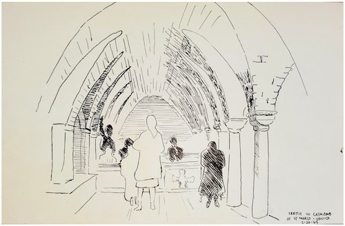 SKETCH IN CATACOMB OF ST. MARCO VENICE