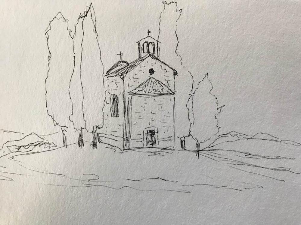 church in tuscan field #2