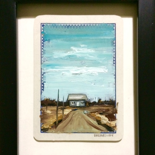 SOLD - Home sweet home - Oil on Playing Card - Framed
