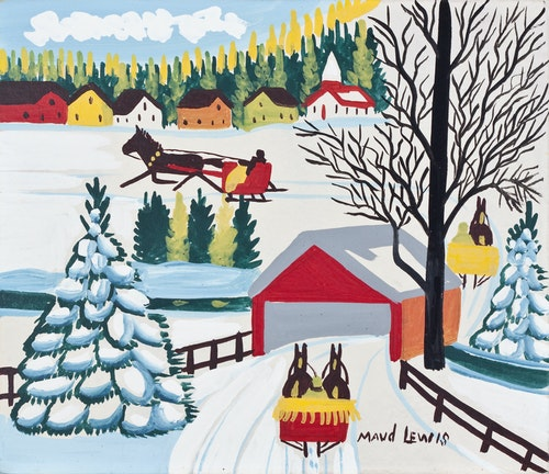 Covered Bridge with Three Sleighs