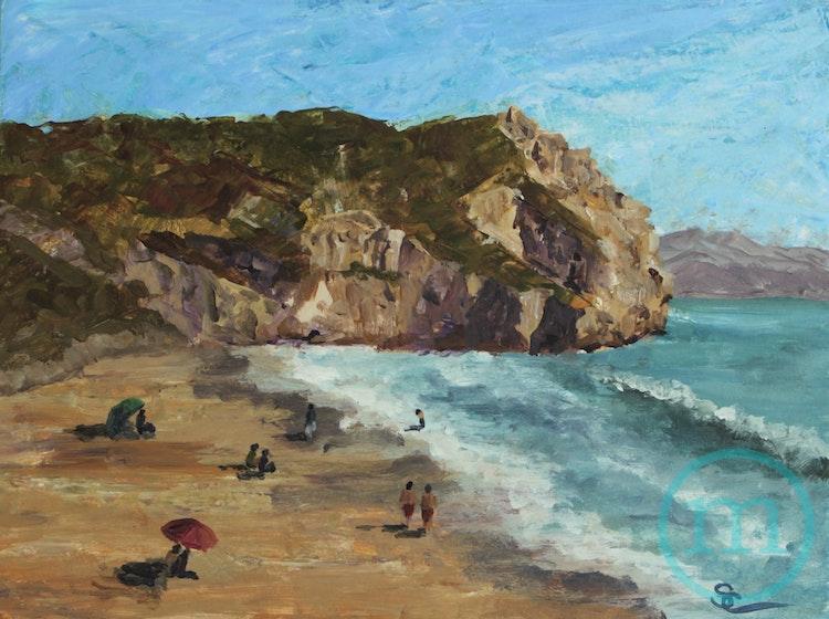 Beach Day at Avila 9 x 12 Framed
