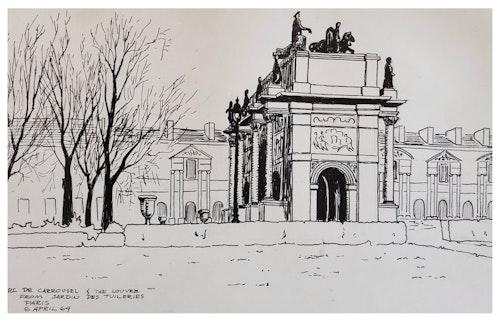 ARC DE CAROUSEL & THE LOUVRE FROM JARDIN DES TUILERIES, PARIS
