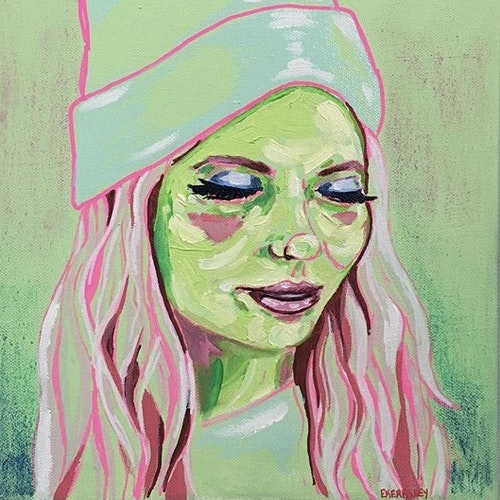 SOLD - Green Toque  9x12