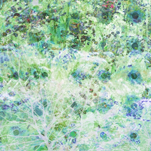 Garden with Violet Circles, Var.2 - Green