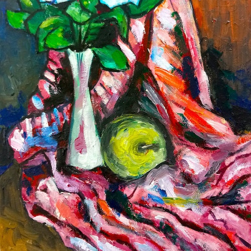 Still Life: Flowers in a Vase and an Apple