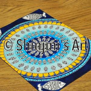 Blue Fish Mandala (Indian Madhubani)