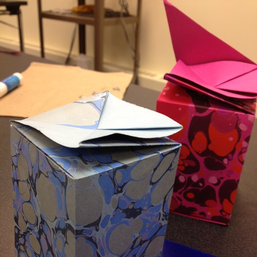 Hand made marbled paper boxes