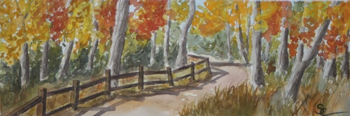 Fall Afternoon at the Bobolink Trail 5.5 x 15 Sold