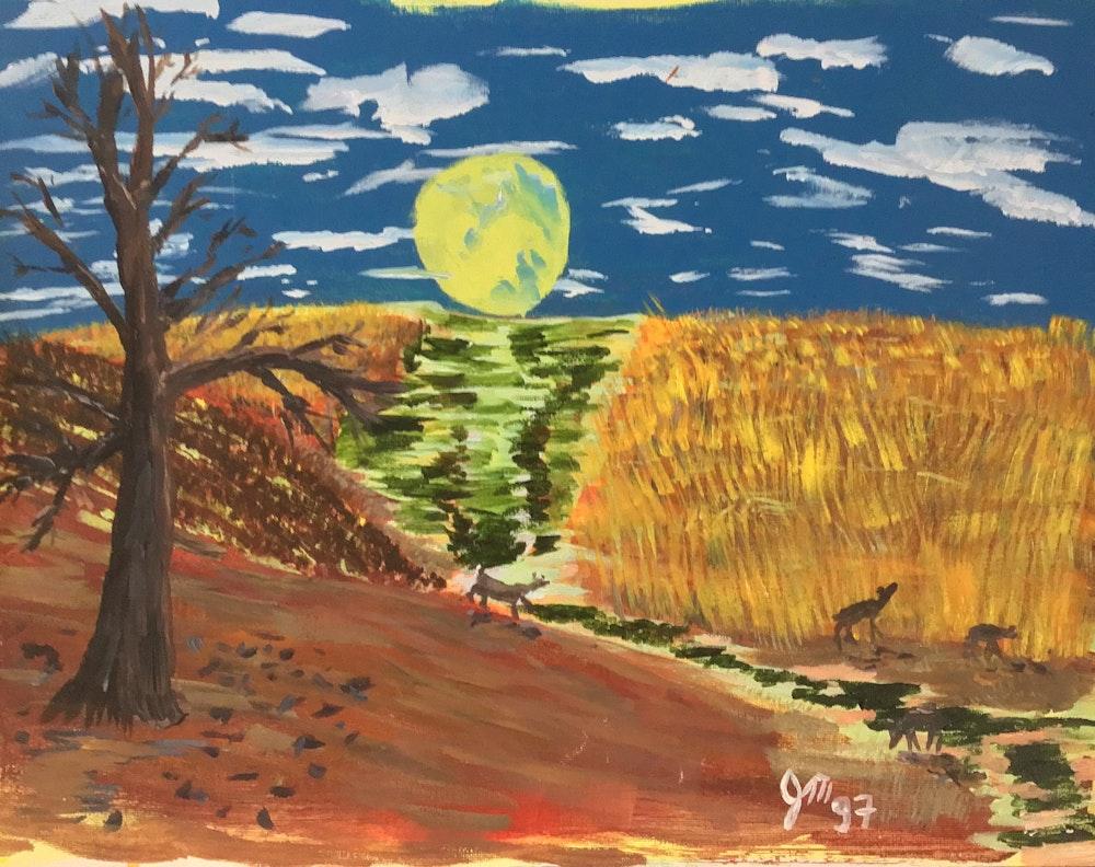 moon and cornfield