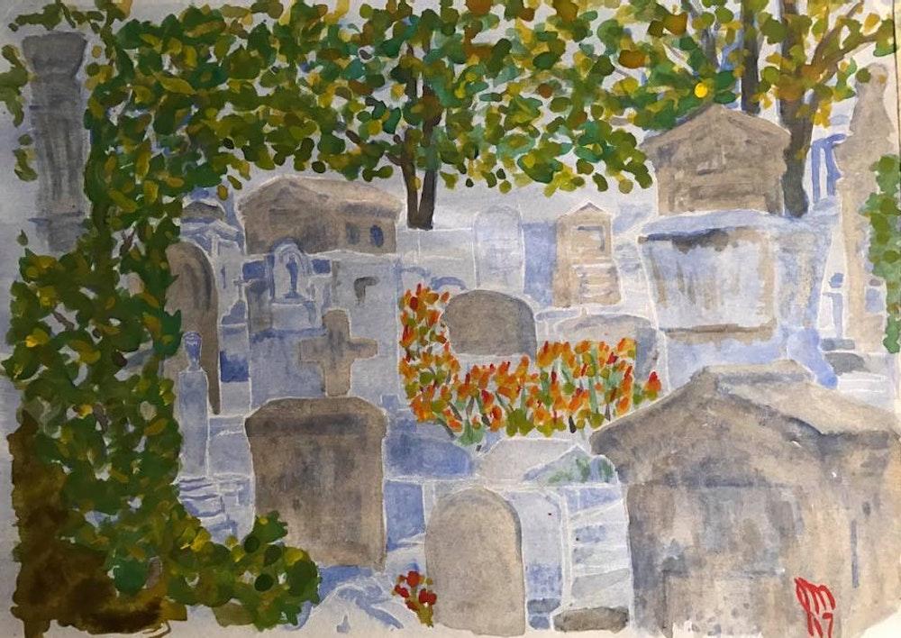 Pere Lachaise cemetery color, Paris France