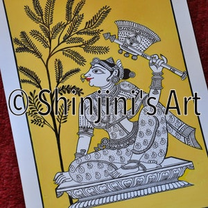 The lady with the Fan - Pattachitra style of Indian Folk Art