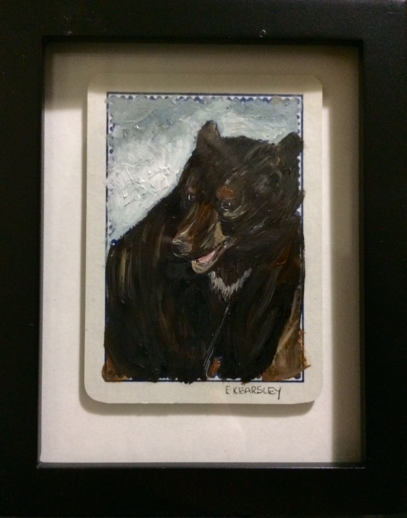 SOLD - Mr - Oil on Playing Card - Framed