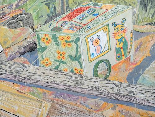 Painted Cart at Kahshe Lake