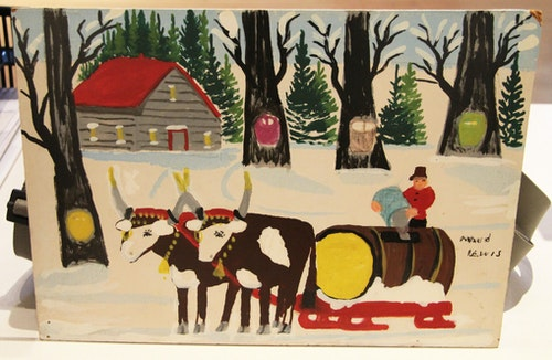 Two Oxen Pulling Sleigh (Sugar Shack)