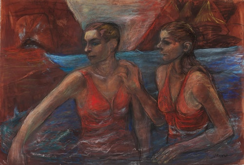 Swimmers, Study (Two Women by Mountains)