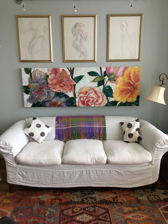 hibiscus painting in a Montreal bedroom