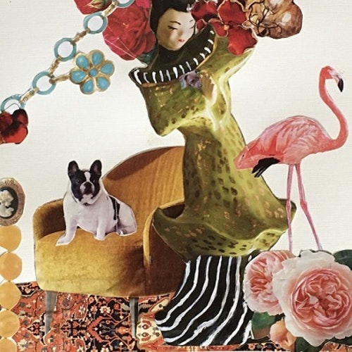 collage with Japanese woman