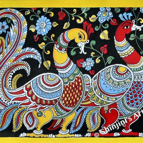The Two Peacocks (Indian Folk Art Kalamkari )