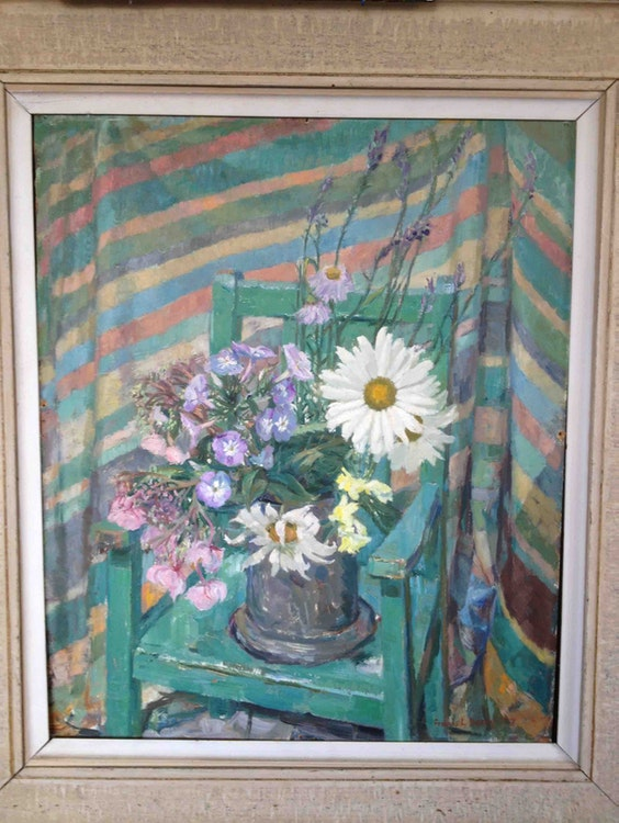 Flowers on Green Chair