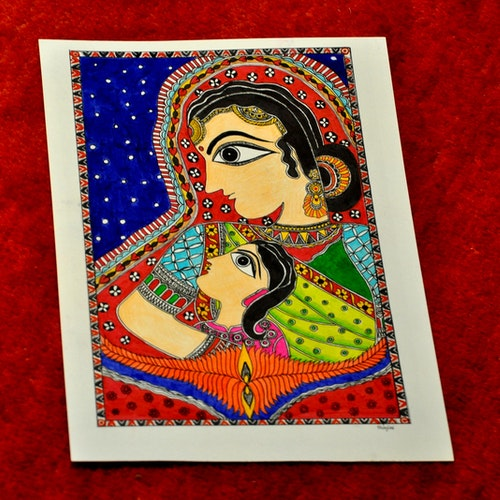 Mother and Child (Indian Madhubani)