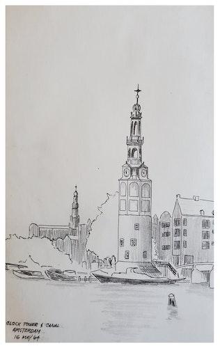 CLOCK TOWER & CANAL AMERSTERDAM