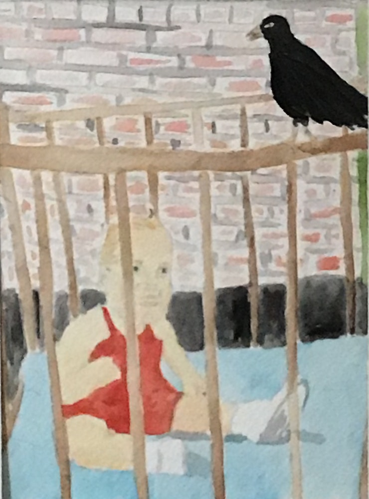 Self Portrait in a Cage on Porter Street (1947)