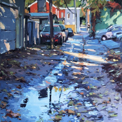Laneway with Puddle