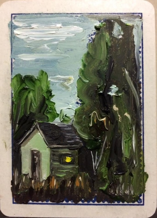 SOLD - Paradise - Oil on Playing Card