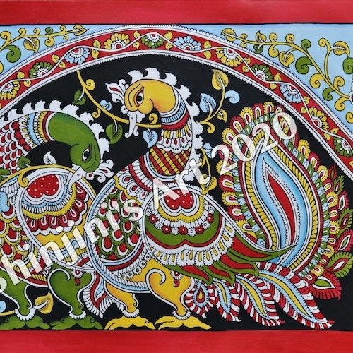 The Peacock Pair (Indian Kalamkari Folk Art)