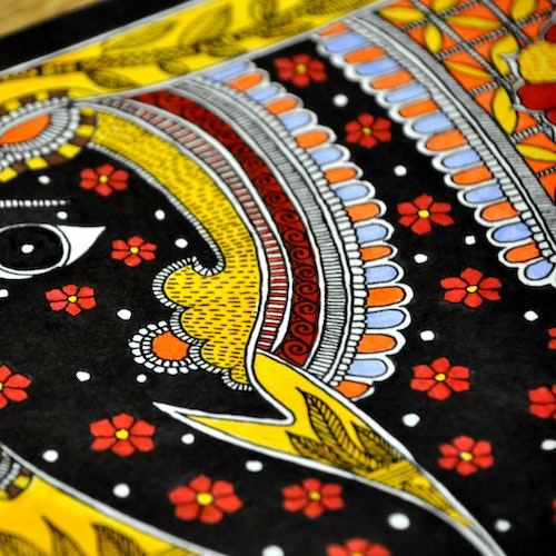 The Black Elephant (Indian Madhubani)