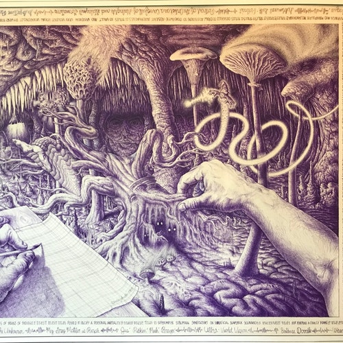 Purple brain stream of consciousness ink drawing