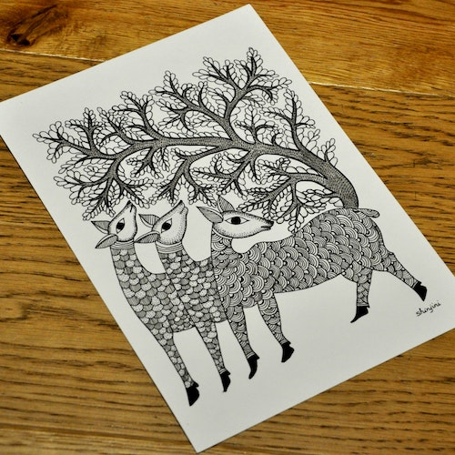 Three Deers and the Tree (Indian Gond)