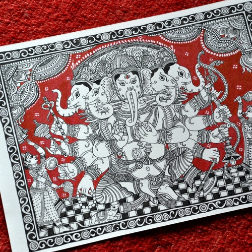 The Panchmukhi Vinayaka (Indian Kalamkari)