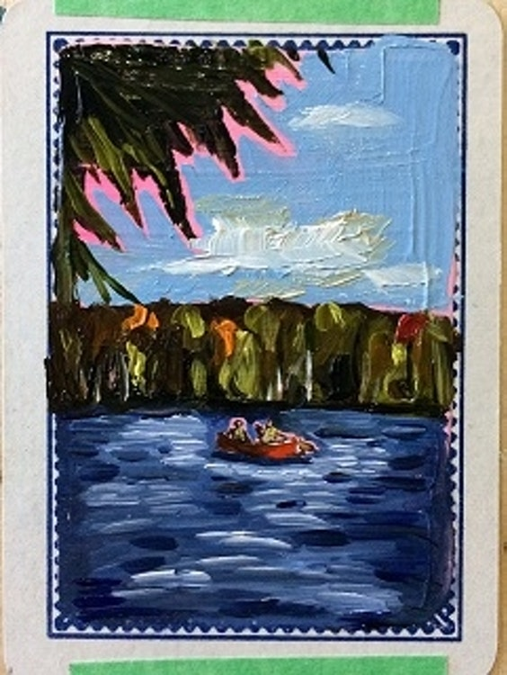 SOLD    Oil on Playing Card - Framed