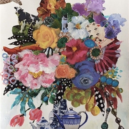 collage with blue and white teapots