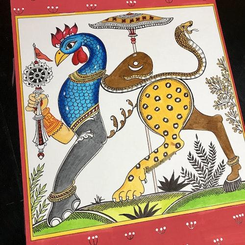 Vishnu Nava-Gunjara (Pattachitra Style)