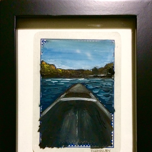 SOLD - Decompress - Oil on Playing Card - Framed