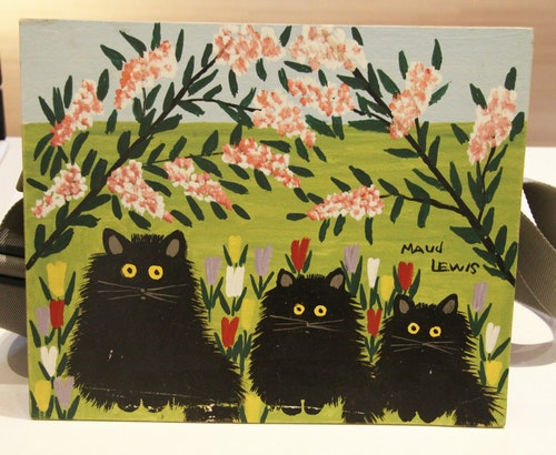 Three Black Cats and Pink Flowers