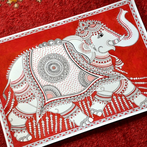 The Ornate Elephant (Indian Kalamkari)
