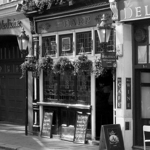 London Pub with Hanging Baskets